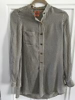 TORY BURCH silk blouse/tunic, cream with black dots, good condition, Size 0(US)