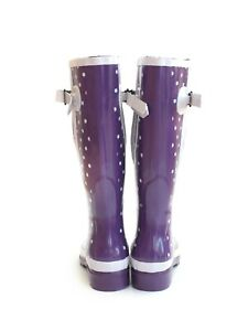 Glossy Purple Polka Dot Extra Wide Calf Wellies (max 52cm)  UK 4/5 ONLY