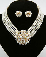 Cream Pearl Strand Crystal Holly Golightly Style Bridal Costume Necklace Set