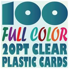 100 Full Color Custom 20pt CLEAR PLASTIC BUSINESS CARD Printing w Round Corners
