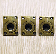 Set of 3 pcs Vintage Flush Lift Small Handle Brass Antique Cabinet Drawer Pulls
