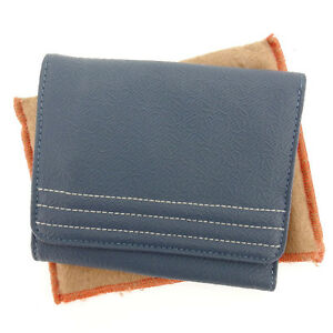Loewe Wallet Purse Trifold Navy Grey Woman Authentic Used Y3345