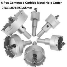 6x Cemented Carbide Hole Saw Drill Bits Cutting Cutter Steel Metal Sheet 22-65mm