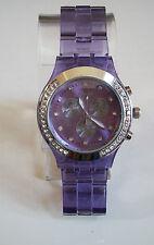 Fashion Designer Light Purple/Silver Finish Boyfriend  light weight stone Watch