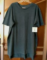 NEW WOMEN'S LULAROE PATRICK SOLID BLUE SHORT SLEEVE COTTON TOP PLUS SIZE 3XL NWT