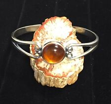 Solid Sterling Silver Cuff Bracelet with 12mm 8 Carat Amber Gemstone