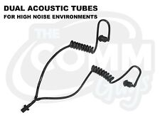 DUAL BLACK COILED ACOUSTIC TUBES WITH EARTIPS - NOISE ATTENUATING RADIO EARPIECE