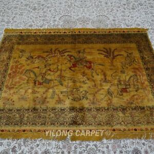 Yilong 4'x6' Hunting Animal Tapestry Handmade Silk Rug Vintage Home Carpet 159AB