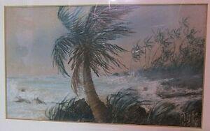 Original framed 1980 Haitian watercolor of Caribbean storm - SIGNED Petitjean