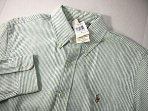 NWT Ralph Lauren Mens Shirt M Classic Fit Green White Striped Long Sleeve Button