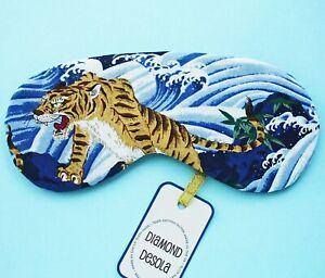 Eye Sleep Mask Soft Cotton Tiger Japanese Travel Blackout Blindfold UK Made Gift