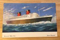 """CUNARD WHITE STAR """"QUEEN ELIZABETH"""" vintage postcard c.1951"""