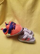 FILA 2 Pair Baby Boys Size 6 - 12 Month Soft Bottom Crib Shoes Orange Gray Blue