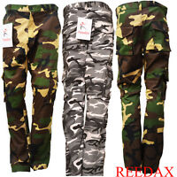 New Men Boy Army Camouflage Cargo Trouser Military Motorbike Pants