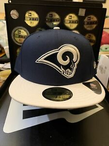 """Los Angeles Rams New Era 59FIFTY """"NFL 2-Tone"""" Collection Fitted Hat Sz 7-3/4"""