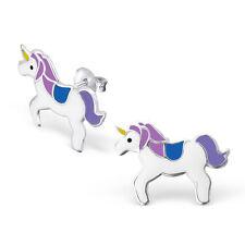 925 Sterling Silver Large Purple Unicorn Ear studs Earrings Horse Girls Boxed W3