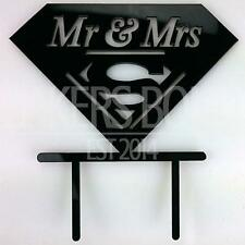 Onorevole & Mrs SUPEREROI SUPERMAN Acrilico WEDDING DAY CAKE TOPPER Sposa Silhouette Gro