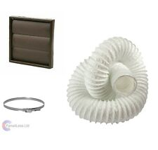 Tumble Dryer KIT 100mm Wall Vent Venting KIT Brown Gravity Grille
