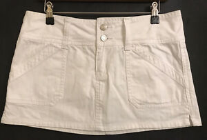 12 MISS SHOP MYER White Silver Button Pockets  Short Denim Mini A-Line Skirt NEW