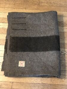 Antique 1920s Gray & Black 4 Point Hudson's Bay Wool Blanket 86 X 72 AS-IS