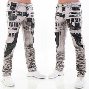 HIGHNESS Jeans Pantaloni Uomo Loose Fit ´ S Vestiario Similpelle Patch Borchie