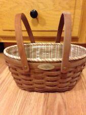 Longaberger 2007 Woven Memories Basket in Warm Brown, Liner, Protector - EUC