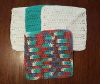 Lot of 4 New Brown/Teal/Magenta Handmade-Crocheted 100% Cotton Dish/Wash Cloths