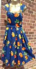 BNWT COLLECTIF SIZE 10 JILL ORANGES SUN DRESS & BELT VINTAGE 1950S ROCKABILLY