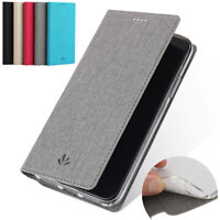 For LG G7 ThinQ, Luxury Flip Canvas Leather Stand Wallet Card Soft Cover Case