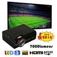 7000 Lumens 1080P Full HD Mini LED Projector 3D Home Theater Cinema HDMI VGA USB