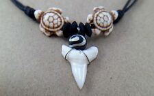 SHARK TOOTH NECKLACE PENDANT SURFER HIPPIE BEAD CHOKER REAL TURTLE MENS NEW