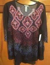New Catherines Black Multi Color 3/4 Length Sleeve 1X 18/20 Shirt