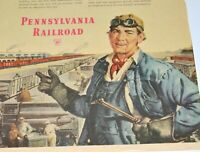 Pennsylvania Railroad Vintage Print Ad 1951 Working For Defense RR Train Welder