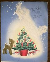 The Wishing Well 1950's Baby's First Christmas Vintage Greeting Card Used