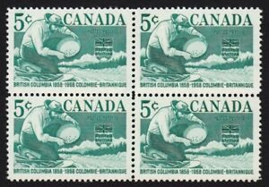 MINER PANNING GOLD = Canada 1958 #377 MNH BLOCK of 4