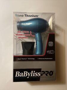 BABNT053T BABYLISS PRO NANO TITANIUM FOLDING TRAVEL HAIR DRYER BLUE