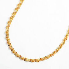 "24K Solid Yellow Gold 3-strand Pedal Link Chain Necklace 17.75"" Japan Mint Stamp"