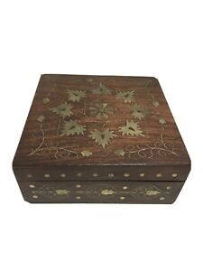 "Floral Wood Brass Inlay Decorative Trinket Box Hinged Red Velvet Lining 6""X6"""