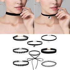 8× Choker Halsketten Set Gothic Tattoo Spitze Choker Ketten Stretch Samt
