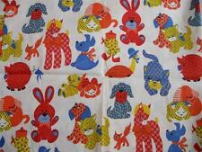 Vintage 40s JUVENILE Novelty  BABY ANIMAL Calico COTTON FABRIC Pony Puppy Turtle
