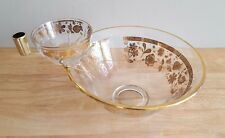Large Gold Gild Floral Pattern Glass Salad or Chip Bowl and Matching Small Bowl