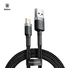 Cable Lightning USB iPhone carga rapida 2.4A BASEUS triple refuerzo color negro