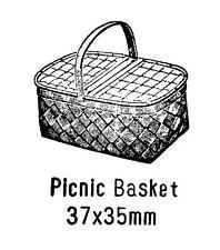 Picnic Basket Rubber Stamp