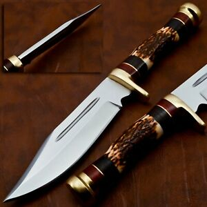 HUNTSMAN Stag Horn Hunting BOWIE ,grooved ,HAND MADE with brass guard & pommel