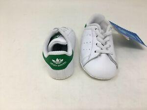 NEW! Adidas Toddler Unisex Stan Smith Crib Shoes Green/White #B24101 W80 t