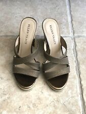 Ellen Tracy Women's Magan  Bronze Strappy Wedge Sandals Size 6.5M