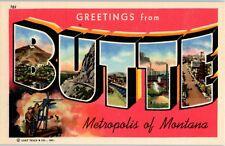 Butte, Montana MT Large Letter Linen Vintage postcard NOS Unposted by Curt Teich