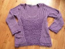 pull femme violet mailles et poches - T 2 (38 / 40) - Alpaga, laine et acrylique