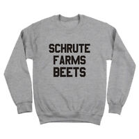 Schrute Farms Beets Funny The Office  Dwight Humor Gray Crewneck Sweatshirt