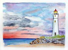 Acquerello faro al tramonto dipinto a mano marina mare